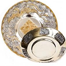 Серебряные блюдца с позолотой