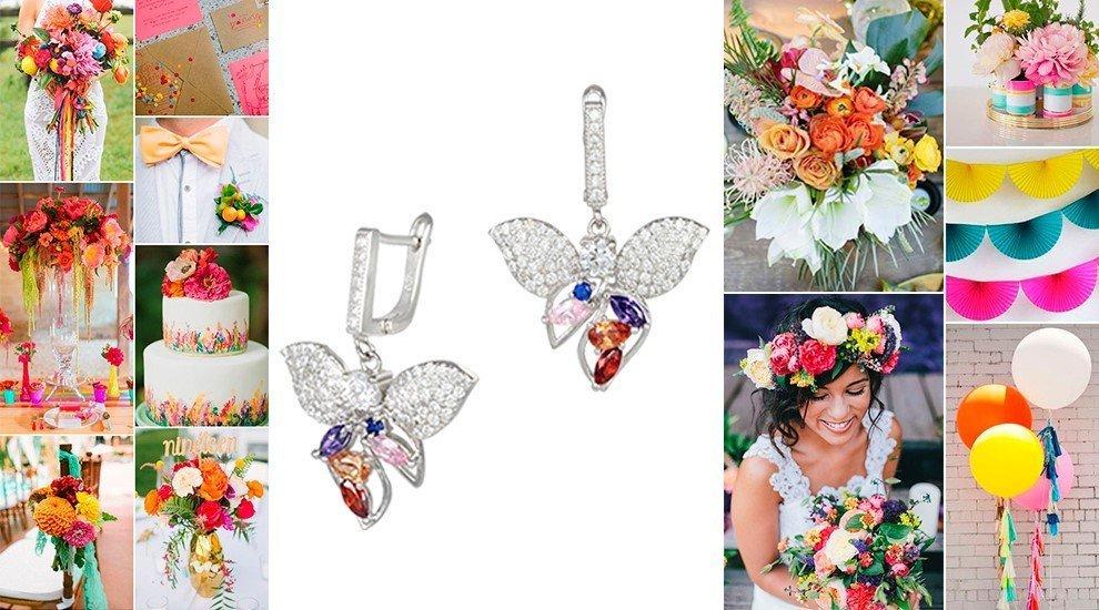 Серебряные серьги для свадьбы радуги