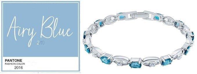Серебренный браслет с голубым топазом