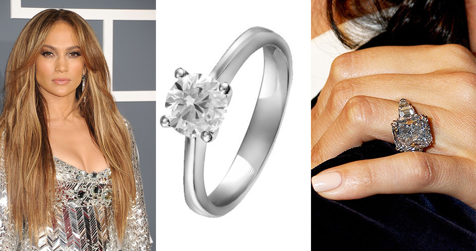 Кольцо с голубым бриллиантом Дженнифер Лопес
