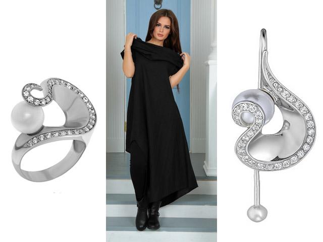 Набор серьги и кольцо к черному платью