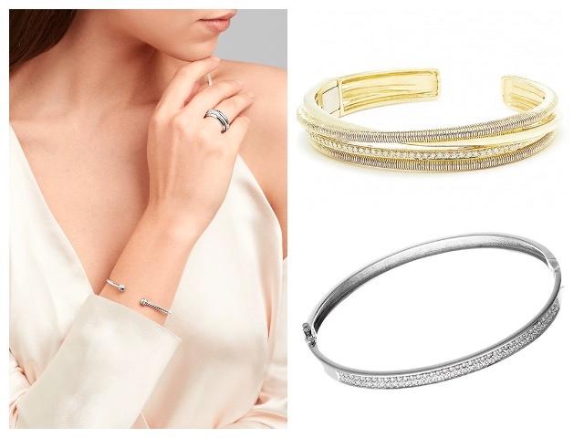 Жесткие золотые браслеты, украшенные бриллиантами