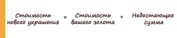 Рассчет стоимости нового украшения при обмене в Zlato.UA