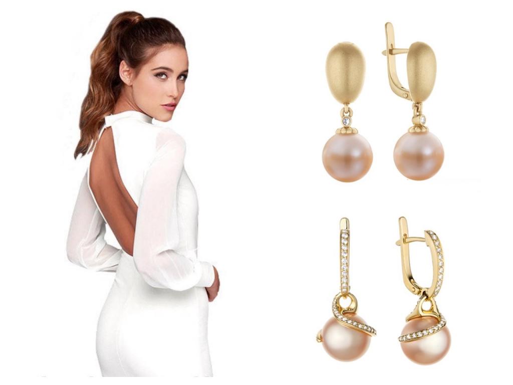 Золотые серьги-подвески с вставкой бриллианты