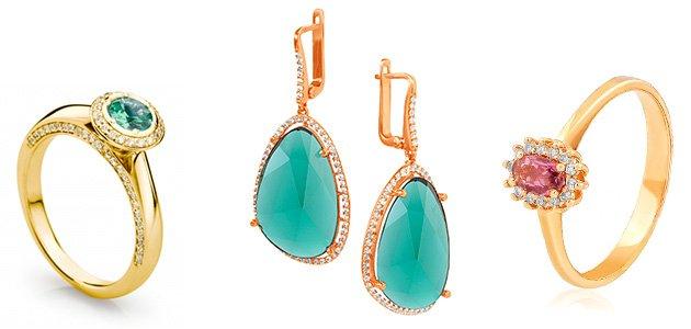Золотые ювелирные изделия с турмалином