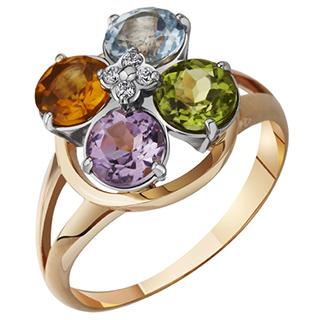 Золотое кольцо с цитрином, топазом, аметистом
