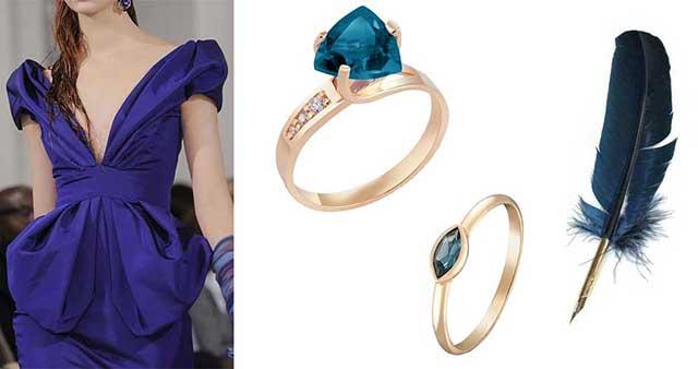 золотые кольца с лондонским топазом