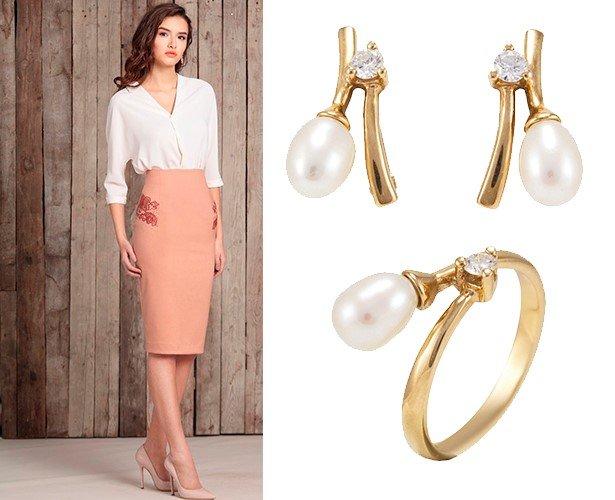 Золотые украгения для офисного стиля одежды