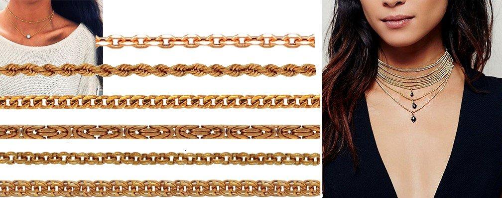 Популярные плетения цепочек