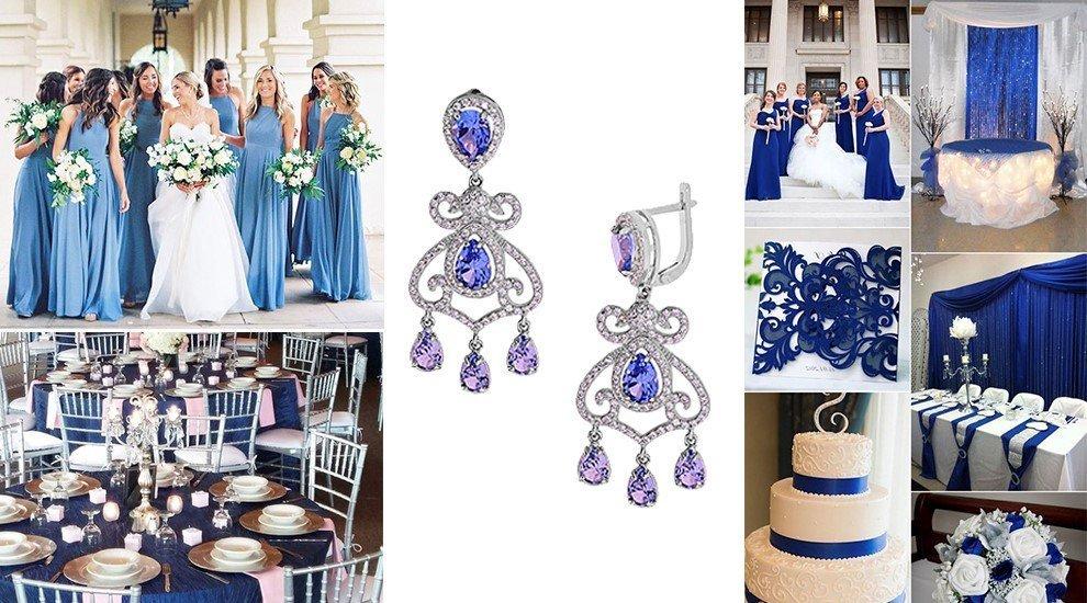 Серьги для свадьбы в синем стиле