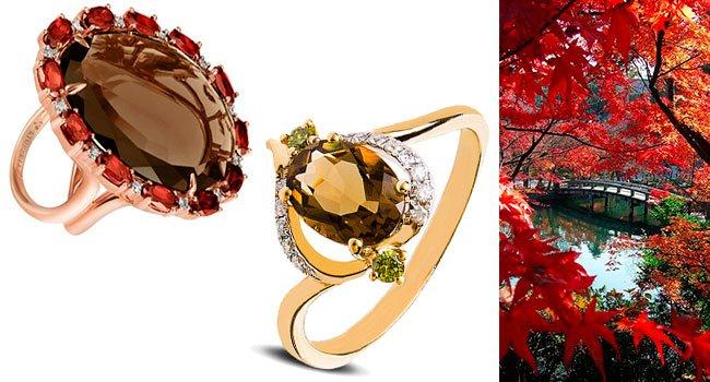Золотые кольца с раухтопазами  купить кольца с камнем раухтопаз из ... 442c3362b2b1d