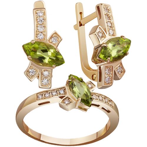 Оливковые камни в золотых украшениях