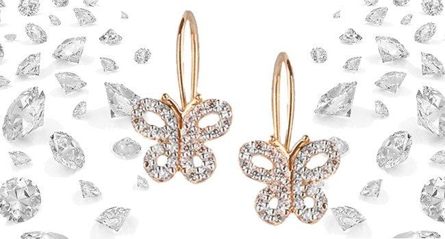 Сережки в форме бабочек с фианитами