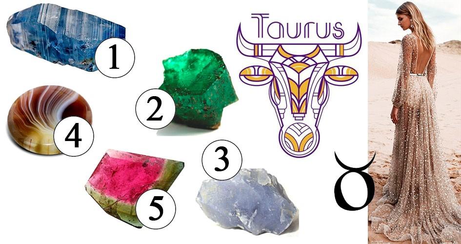 Камни Тельца: сапфир, изумруд, халцедон, агат, турмалин