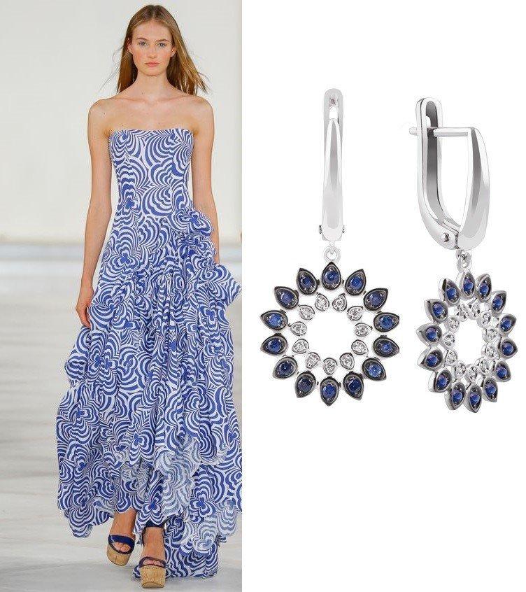 Серьги из белого золота для голубого платья