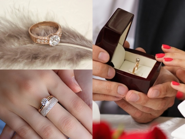 Помолвочные кольца из красного золота