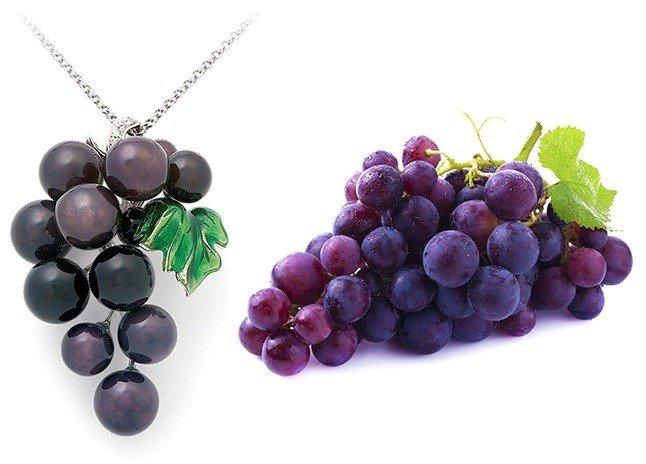 Колье в виде виноградной грозди