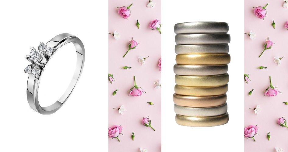 Помолвочные кольца в разном цвете золота