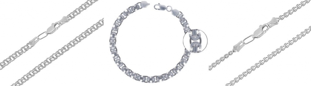 Серебряные цепочки и браслет Осика