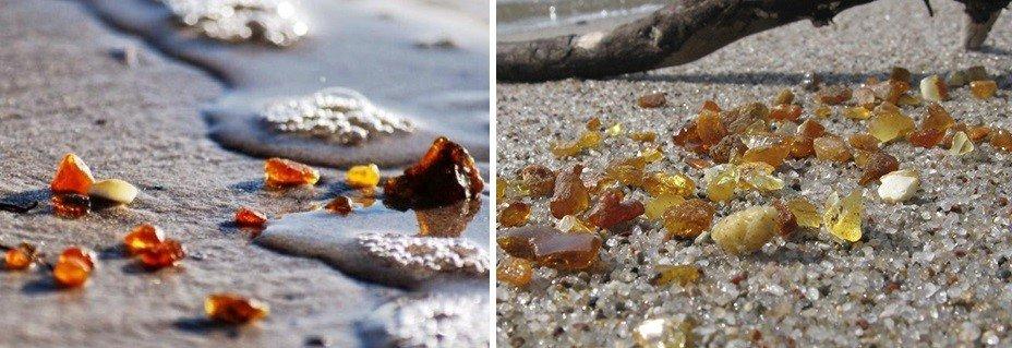 Янтарь на берегу моря