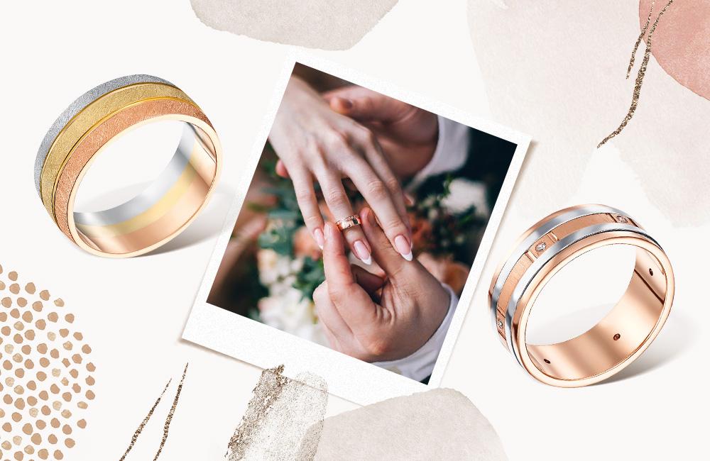 трехцветные обручальные кольца