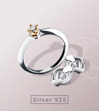 Cеребряные украшения с бриллиантами