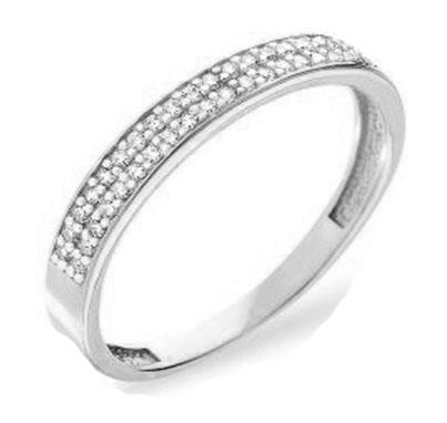 Обручальное кольцо из белого золота и фианитами