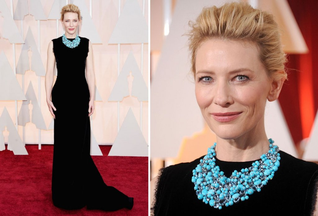 Кейт Бланшетт в черном платье и бирюзовом ожерелье на Оскар 2015