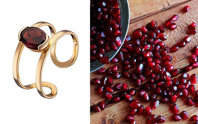 Золотое гранатовое кольцо