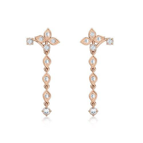 Серьги из розового золота Дивный рассвет с бриллиантами