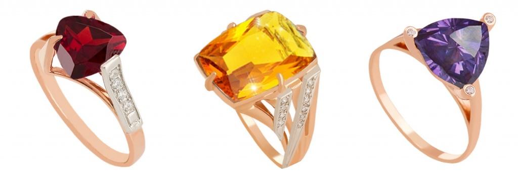 Золотые кольца Vilant со вставками