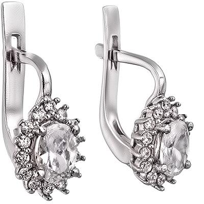 Серебряные сережки с фианитами