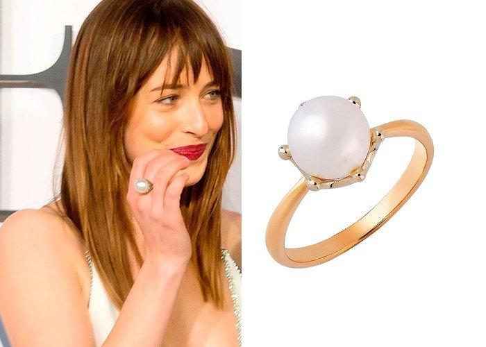 Стильное золотое кольцо с жемчугом