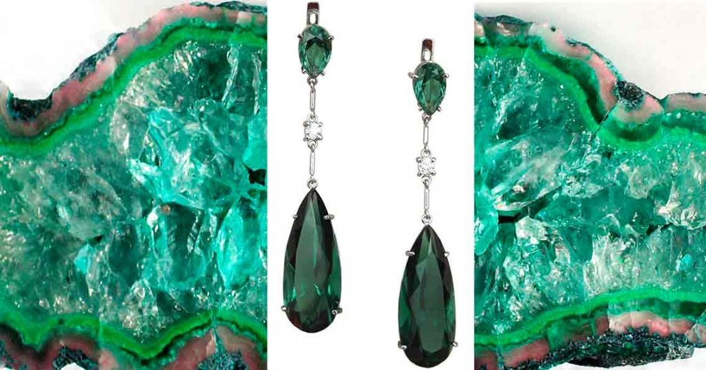 Сережки с зеленым кварцем