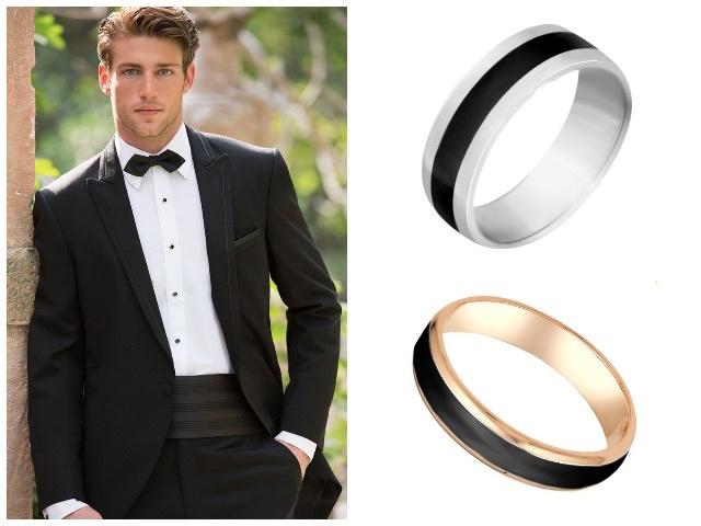 Кольца на свадьбу с черной эмалью