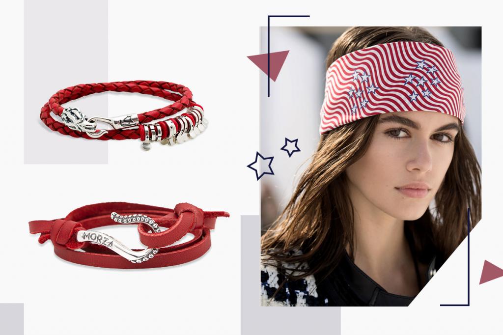 Кожаные браслеты красные