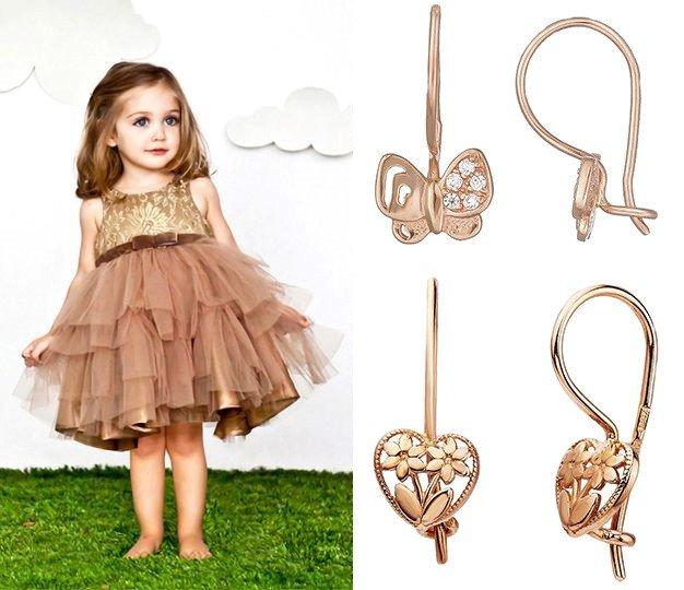 Детские золотые сережки