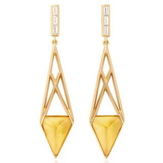 Золотые серьги с цитрином в футуристическом стиле