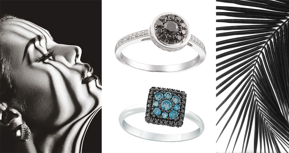 Кольца с бриллиантом черного цвета