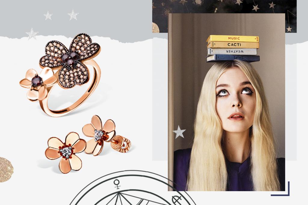 Кольцо и сережки цветочки