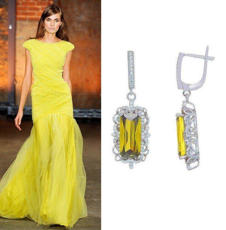 Серебряные серьги с цирконием для желтого выпускного платья