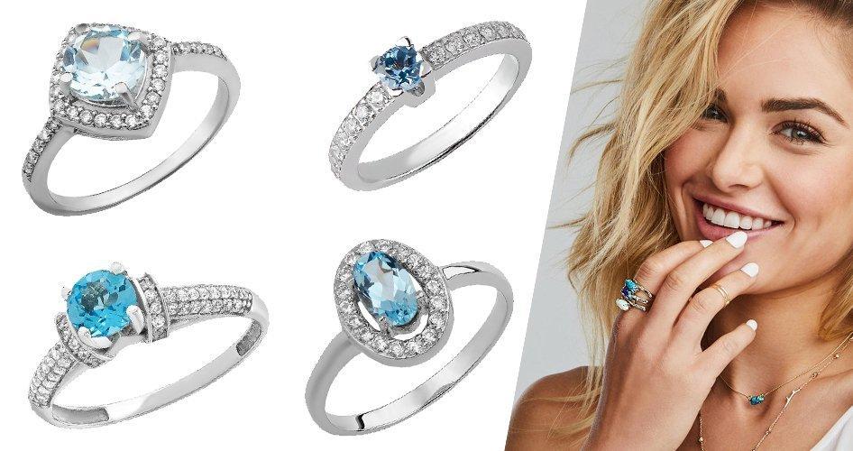Кольца со голубыми вставками