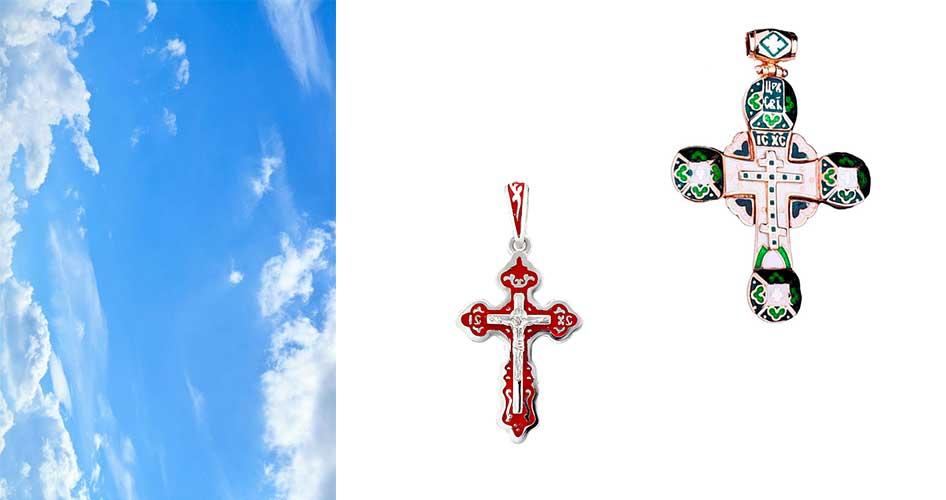 Крестик эмаль украшение