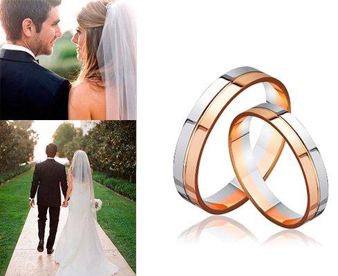 Золотые обручальные кольца из комбинированного металла