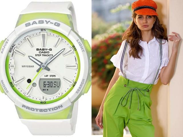 Белые наручные часы с зелеными вставками