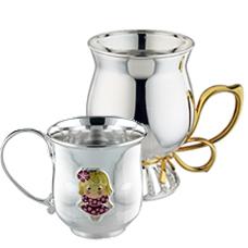 Чашки серебряные с позолотой