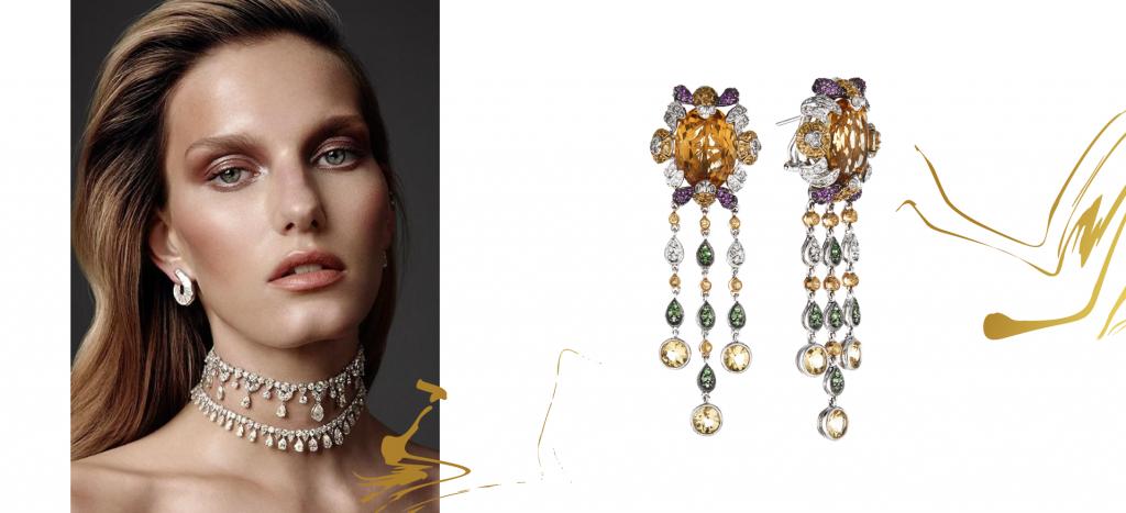 Серьги-люстры с россыпью бриллиантов