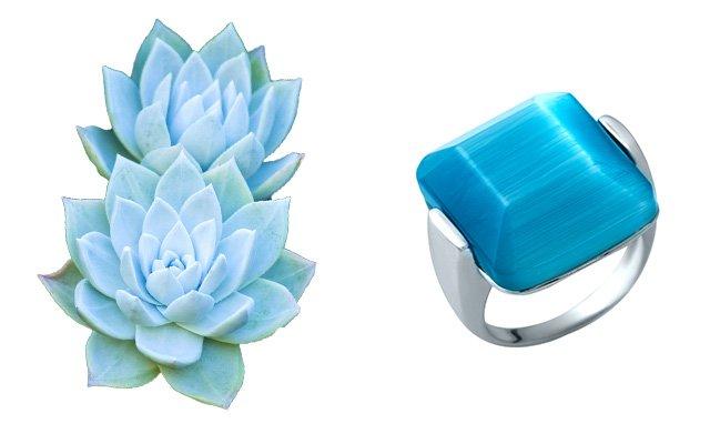 Улексит кольцо с синим камнем