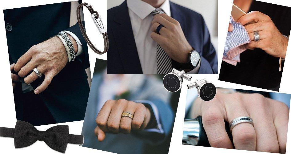 Обручальные кольца на мужской руке