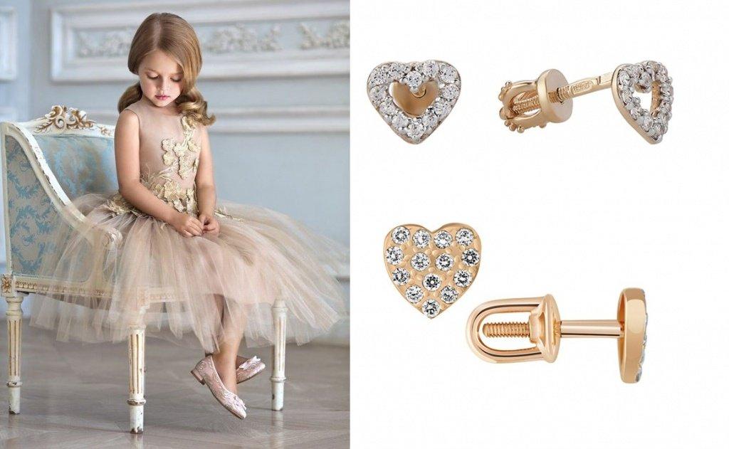 Детские золотые сережки-пуссеты